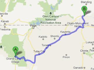Bluff-Grand Canyon 366 km