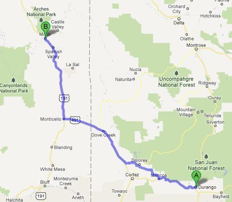 Moab-Durango 254 km