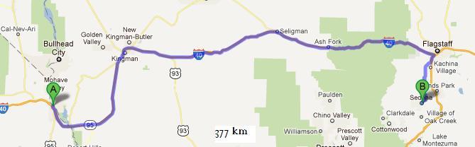 Sedona-Needles 377km
